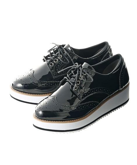 靴(シューズ)|プラットフォームオックスフォードシューズ(低反発中敷)(ワイズ4E) ニッセン nissen(黒)