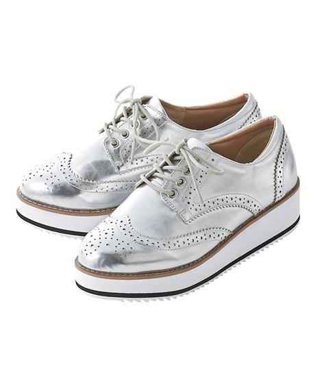 靴(シューズ)|プラットフォームオックスフォードシューズ(低反発中敷)(ワイズ4E) ニッセン nissen(シルバー)