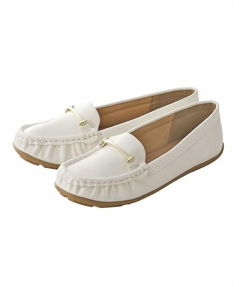 靴(シューズ)|ビット付モカシンシューズ(低反発中敷)(ワイズ4E) ニッセン nissen(ホワイト)