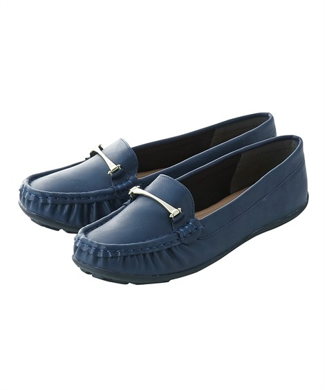 靴(シューズ)|ビット付モカシンシューズ(低反発中敷)(ワイズ4E) ニッセン nissen(ネイビー)