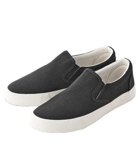 靴(シューズ)|スリッポンスニーカー ニッセン nissen(黒)