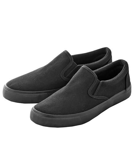 靴(シューズ)|スリッポンスニーカー ニッセン nissen(黒×黒)
