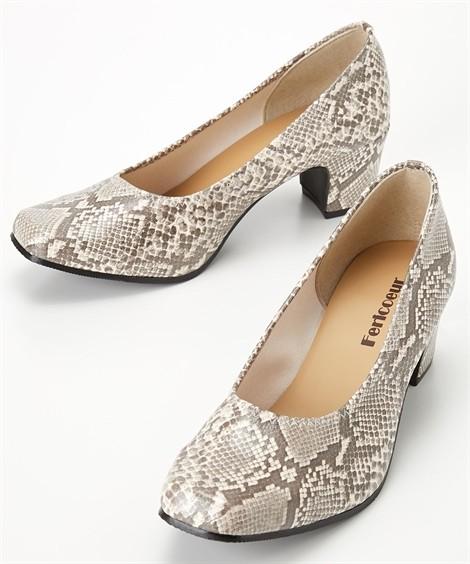 靴(シューズ)|スクエアトゥスネーク柄パンプス(ワイズ4E) ニッセン nissen(ブラウン)