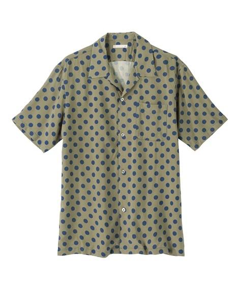 トップス・ワイシャツ|総柄ドットプリント半袖開襟シャツ ニッセン nissen(カーキ系)