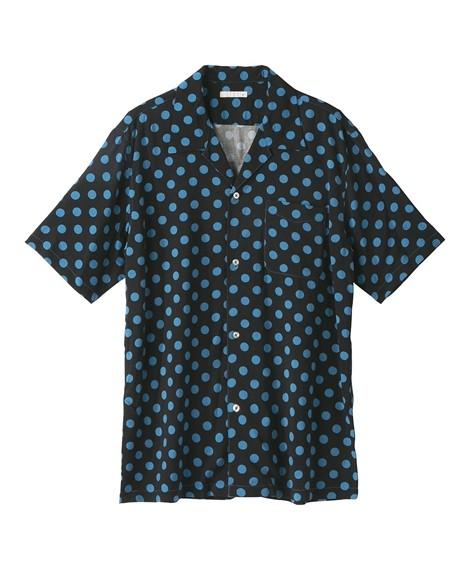 トップス・ワイシャツ|総柄ドットプリント半袖開襟シャツ ニッセン nissen(黒系)