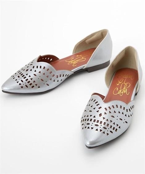 靴(シューズ)|カットワークフラットパンプス(低反発中敷)(ワイズ4E) ニッセン nissen(シルバー)