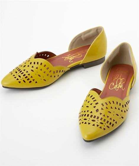 靴(シューズ)|カットワークフラットパンプス(低反発中敷)(ワイズ4E) ニッセン nissen(イエロー)