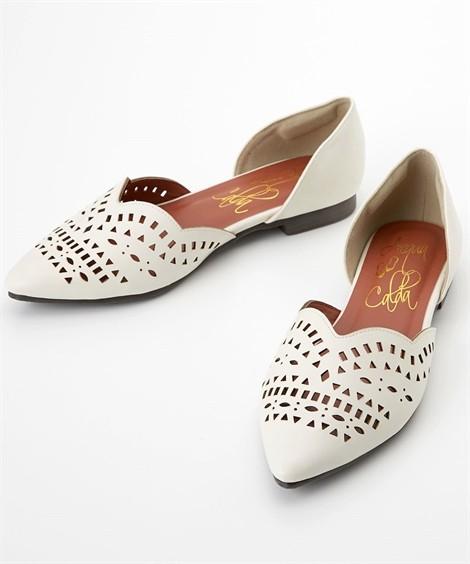 靴(シューズ)|カットワークフラットパンプス(低反発中敷)(ワイズ4E) ニッセン nissen(アイボリー)