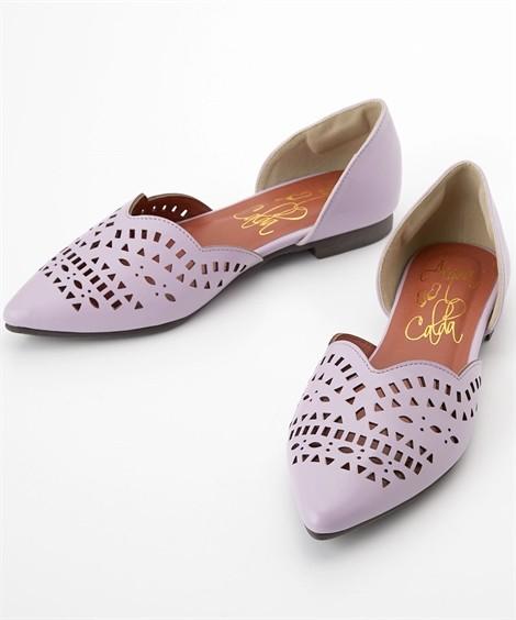 靴(シューズ)|カットワークフラットパンプス(低反発中敷)(ワイズ4E) ニッセン nissen(パープル)