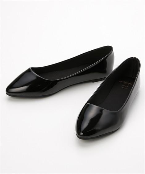 靴(シューズ) やわらかカッターシューズ(低反発中敷)(ワイズ4E) ニッセン nissen(黒エナメル)
