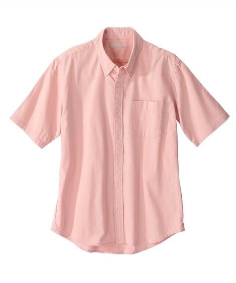 トップス・ワイシャツ|綿100%オックスフォードカジュアル半袖シャツ(消臭テープ付) ニッセン nissen(ピンク)