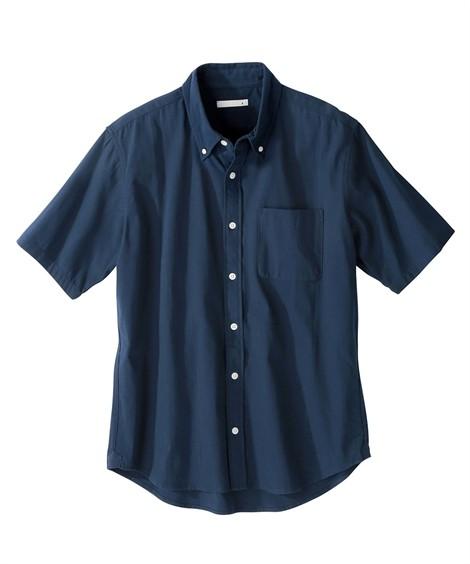 トップス・ワイシャツ|綿100%オックスフォードカジュアル半袖シャツ(消臭テープ付) ニッセン nissen(紺)