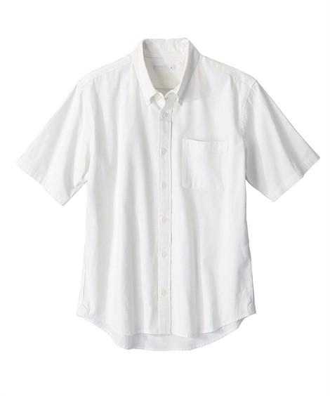 トップス・ワイシャツ|綿100%オックスフォードカジュアル半袖シャツ(消臭テープ付) ニッセン nissen(白)