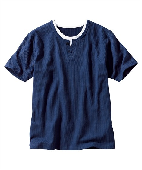 トップス・ワイシャツ|フェイクレイヤードヘンリーネック半袖Tシャツ ニッセン nissen(紺系)