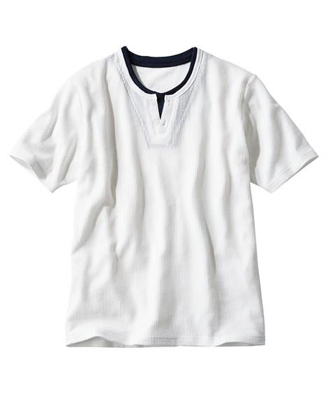 トップス・ワイシャツ|フェイクレイヤードヘンリーネック半袖Tシャツ ニッセン nissen(白)