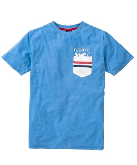 トップス・ワイシャツ PLENTY TOUGH SPORT(プレンティタフスポーツ)カノコデザインポケット付半袖Tシャツ ニッセン nissen(ブルー系)