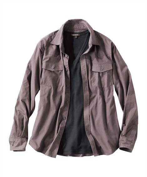 トップス・ワイシャツ 2点セット(ウエスタン長袖シャツ+半袖Tシャツ) ニッセン nissen(チャコール系+黒)