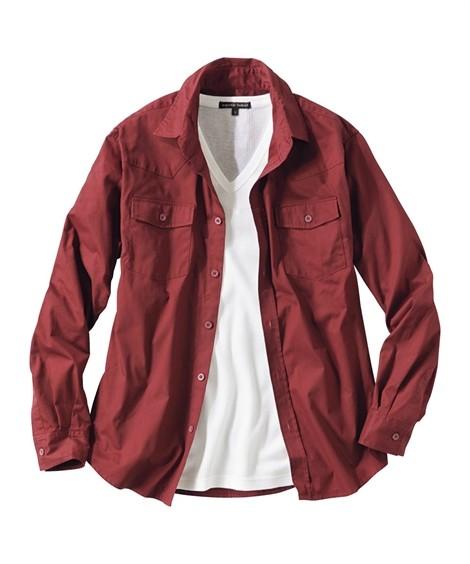 トップス・ワイシャツ 2点セット(ウエスタン長袖シャツ+半袖Tシャツ) ニッセン nissen(エンジ系+白)