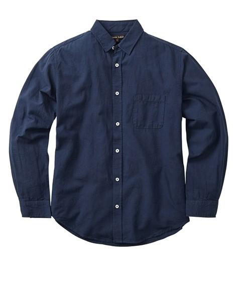 トップス・ワイシャツ|綿麻無地 小衿長袖シャツ ニッセン nissen(紺)