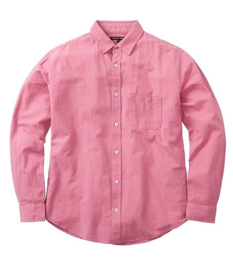 トップス・ワイシャツ|綿麻無地 小衿長袖シャツ ニッセン nissen(ピンク)