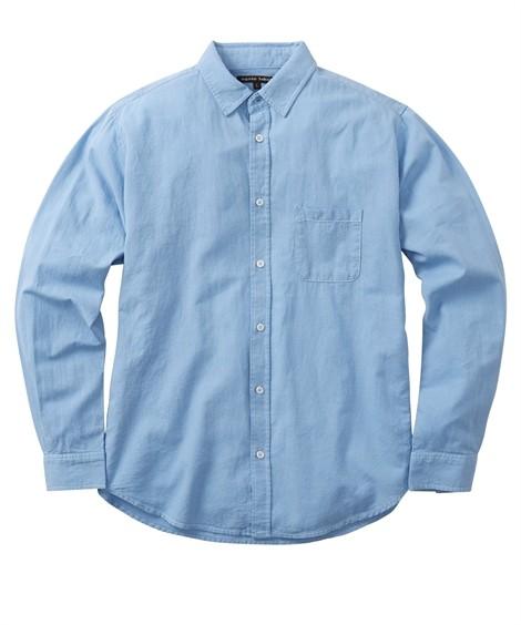 トップス・ワイシャツ|綿麻無地 小衿長袖シャツ ニッセン nissen(サックス)