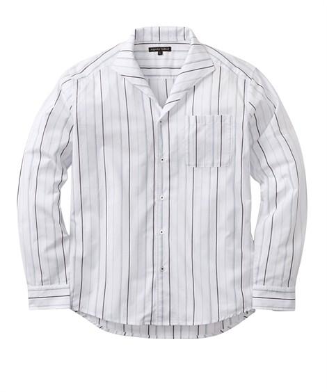 トップス・ワイシャツ イタリアンカラー ストライプ柄長袖シャツ ニッセン nissen(白系)
