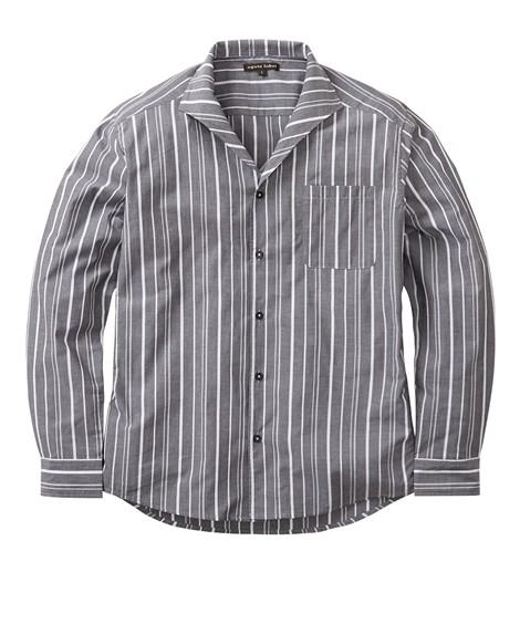 トップス・ワイシャツ イタリアンカラー ストライプ柄長袖シャツ ニッセン nissen(グレー系)