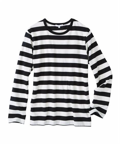 トップス・ワイシャツ|ボーダー長袖Tシャツ(消臭テープ付) ニッセン nissen(白×黒)