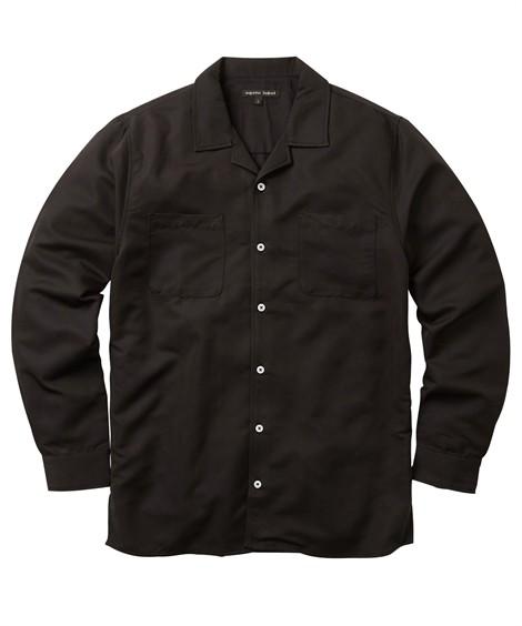 トップス・ワイシャツ|レーヨン混無地 開襟長袖カジュアルシャツ ニッセン nissen(黒)