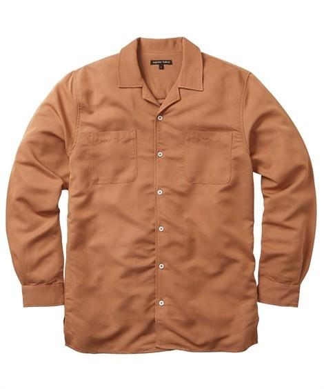 トップス・ワイシャツ|レーヨン混無地 開襟長袖カジュアルシャツ ニッセン nissen(ライトブラウン)