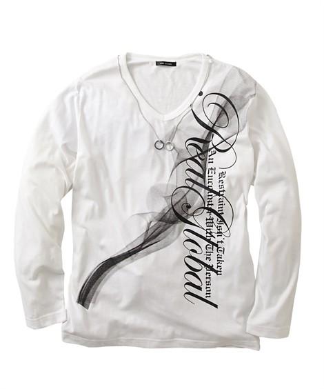 トップス・ワイシャツ|ペンダント付き プリント長袖Tシャツ ニッセン nissen(ホワイト)
