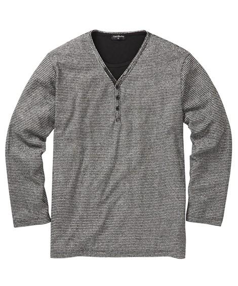 トップス・ワイシャツ|Louis Chavlon(ルイシャブロン) ブークレー フェイクレイヤード長袖ヘンリーネックTシャツ 大きいサイズメンズ ニッセン nissen(黒)