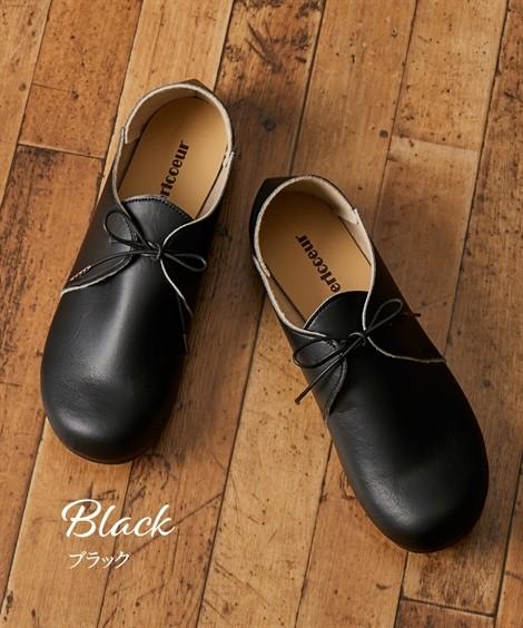 靴(シューズ) オブリークトゥレースアップシューズ(ワイズ4E) ニッセン nissen(ブラック)