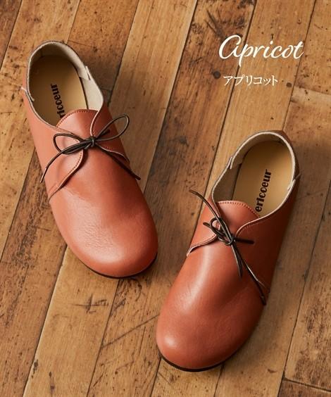 靴(シューズ) オブリークトゥレースアップシューズ(ワイズ4E) ニッセン nissen(アプリコット)