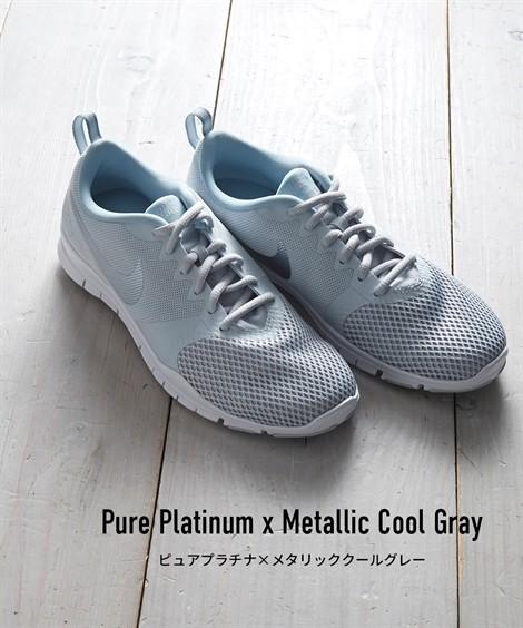 靴(シューズ)|ナイキ ウィメンズフレックスエッセンシャルTR ニッセン nissen(ピュアプラチナ×メタリッククールグレー)