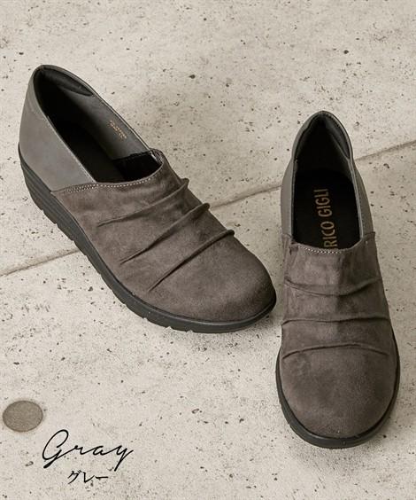 靴(シューズ)|超軽量ウェッジヒールシューズ(4Eワイズ) ニッセン nissen(グレー)