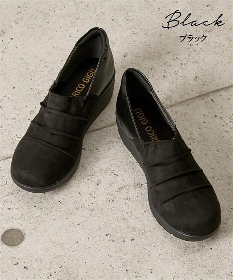 靴(シューズ)|超軽量ウェッジヒールシューズ(4Eワイズ) ニッセン nissen(ブラック)
