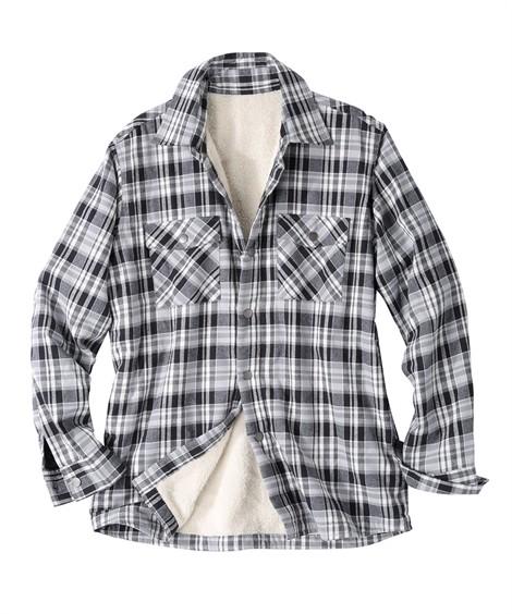 トップス・ワイシャツ|身頃裏ボアチェック柄長袖カジュアルシャツ ニッセン nissen(白×黒)