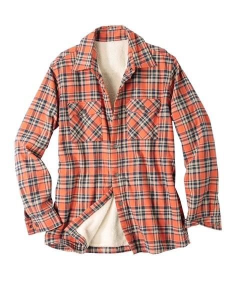 トップス・ワイシャツ|身頃裏ボアチェック柄長袖カジュアルシャツ ニッセン nissen(オレンジ×紺)