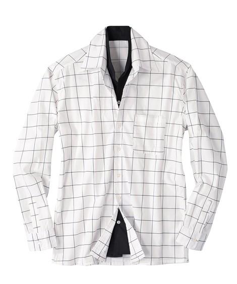トップス・ワイシャツ|イタリアンカラー切替デザインシャツ ニッセン nissen(白系)