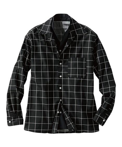 トップス・ワイシャツ|イタリアンカラー切替デザインシャツ ニッセン nissen(黒系)