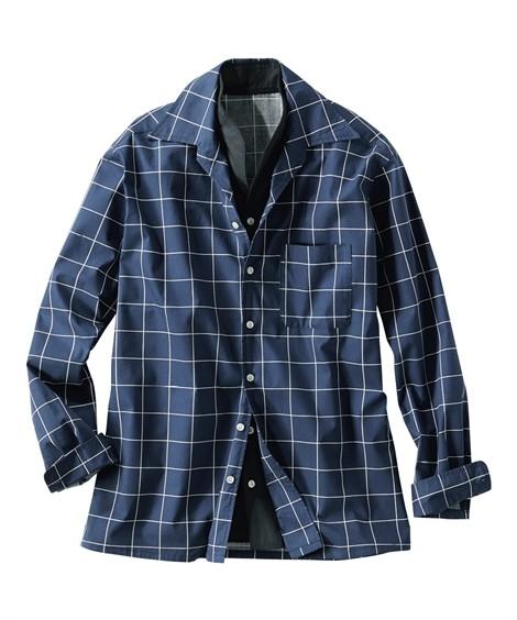 トップス・ワイシャツ|イタリアンカラー切替デザインシャツ ニッセン nissen(紺系)
