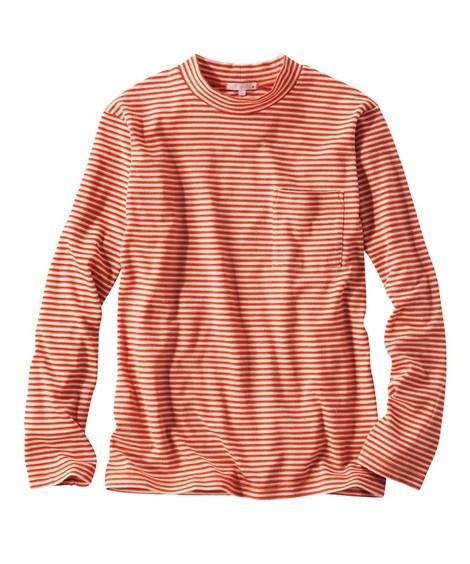 トップス・ワイシャツ 起毛ボーダー柄モックネック長袖Tシャツ ニッセン nissen(オレンジ系)