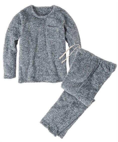 パジャマ・ルームウェア|マイクロファイバー胸ポケット付きプルオーバー上下セット ニッセン nissen(ネイビー系)