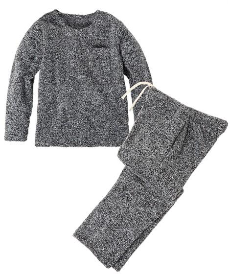 パジャマ・ルームウェア|マイクロファイバー胸ポケット付きプルオーバー上下セット ニッセン nissen(グレー系)