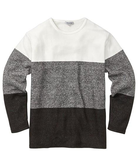 トップス・ワイシャツ|ブークレフリース3段配色クルーネック長袖Tシャツ 大きいサイズメンズ ニッセン nissen(白×杢ブラック)