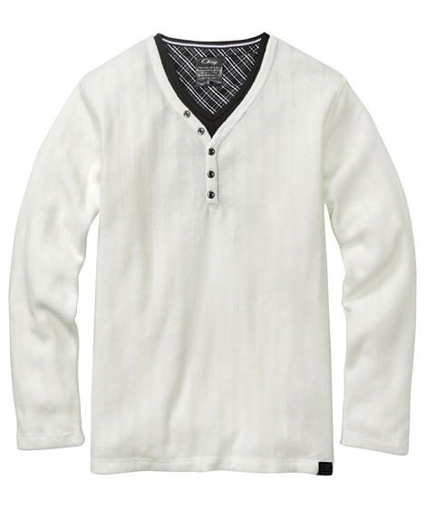 トップス・ワイシャツ|ブークレフリース重ね着風ヘンリーネック長袖Tシャツ ニッセン nissen(オフホワイト)
