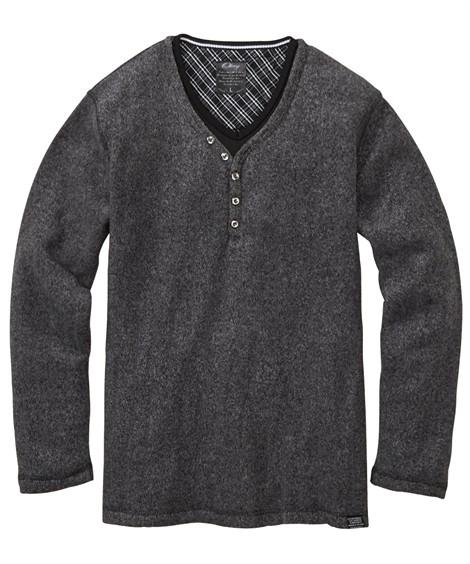 トップス・ワイシャツ|ブークレフリース重ね着風ヘンリーネック長袖Tシャツ ニッセン nissen(杢ブラック)