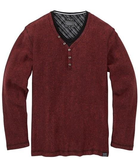 トップス・ワイシャツ|ブークレフリース重ね着風ヘンリーネック長袖Tシャツ ニッセン nissen(ダークレッド)