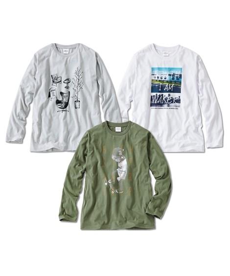 トップス・ワイシャツ 長袖プリントTシャツ3枚組(トレンド) ニッセン nissen(シルバー+オリーブ+白)